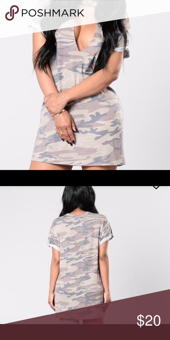 Camo Tunic Camouflage print tunic with high neck and front cut out detail. Fashion Nova Dresses Mini