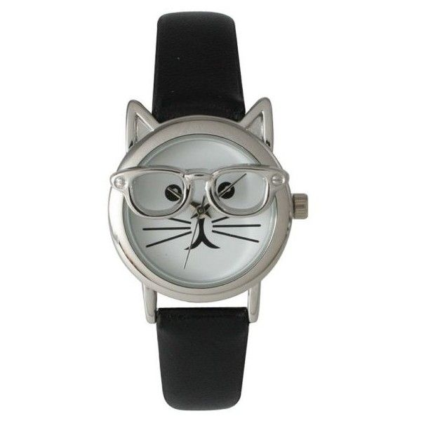 Olivia Pratt Cat in Glasses Watch ($25) ❤ liked on Polyvore featuring jewelry, watches, black, cat watches, water resistant watches, multi colored jewelry, multi color jewelry and cat jewelry