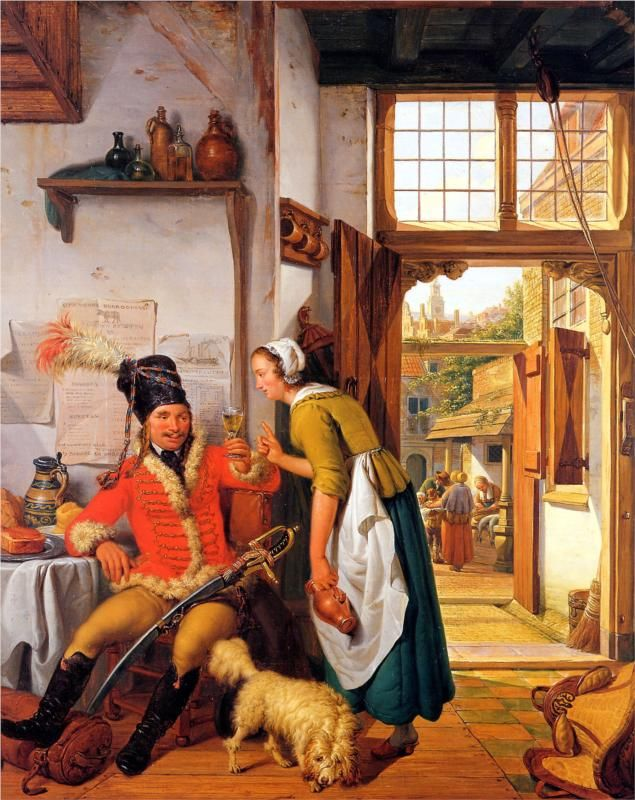 'Interior with soldier and maid' ~ Abraham van Strij (Netherlands, 1753 - 1826)
