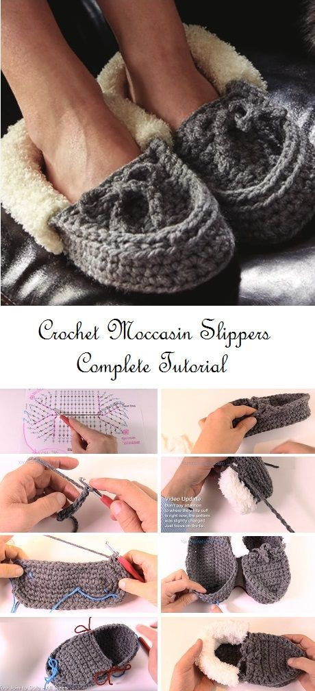 Crochet Family Moccasin Slippers – Complete Tutorial | Moccasins ...