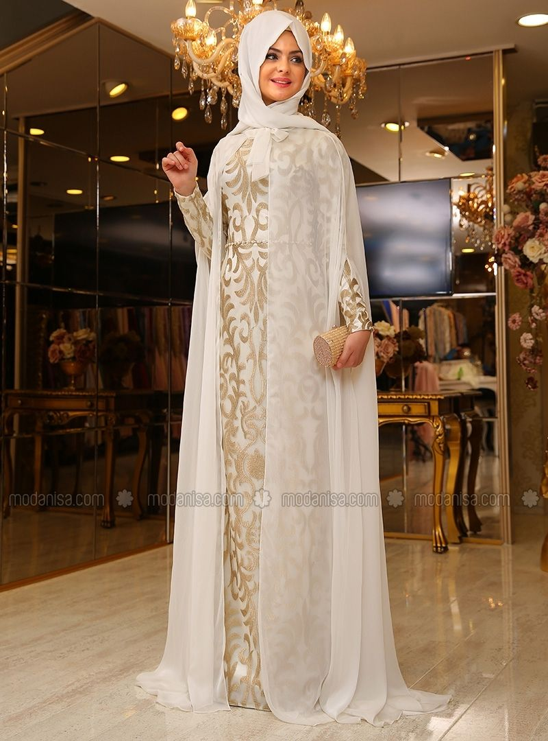 6b91a2eab0e56 Eylul Evening Dress - Ecru - Pinar Sems | Hijab and fashion | Hijab ...