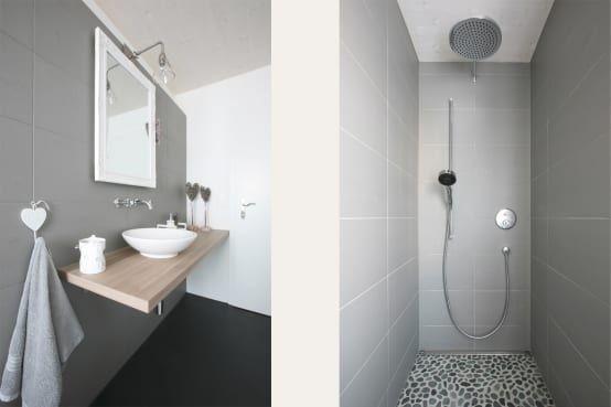 Die Silikonfugen der Dusche, der Übergang zwischen Fliesen