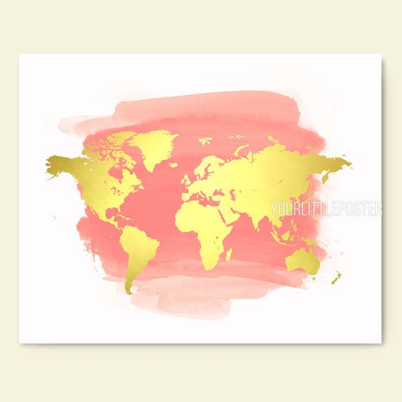 16x20 large world printable map, coral and gold nursery wall art ...