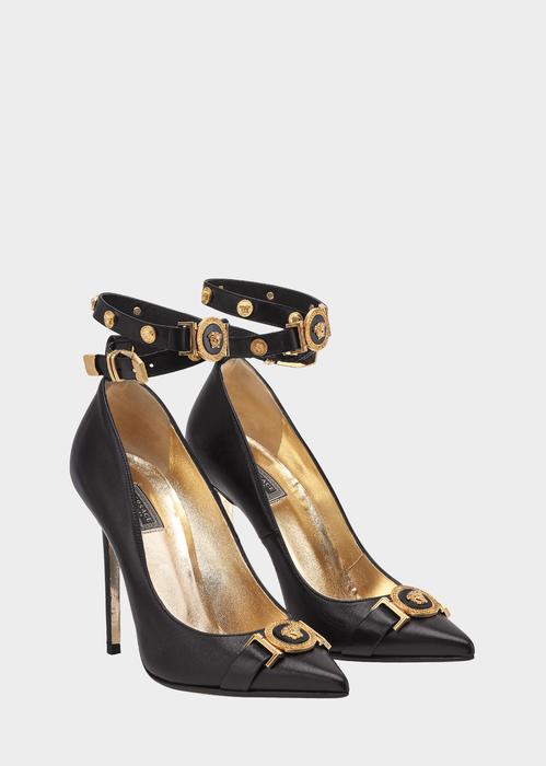 4b6acedba132 VERSACE Medusa Stud Ankle Strap Pumps.  versace  shoes