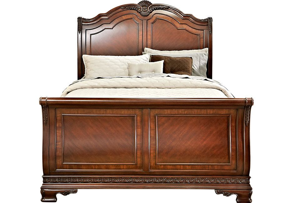 Cortinella Cherry 3 Pc Queen Sleigh Bed | Sleigh beds, Bed ...