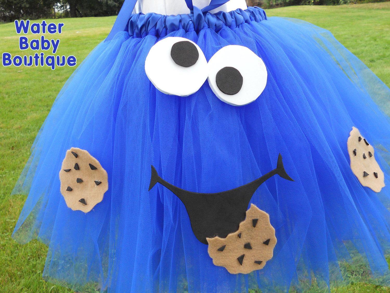 c is for cookie- cookie monster halloween costume tutu halter dress