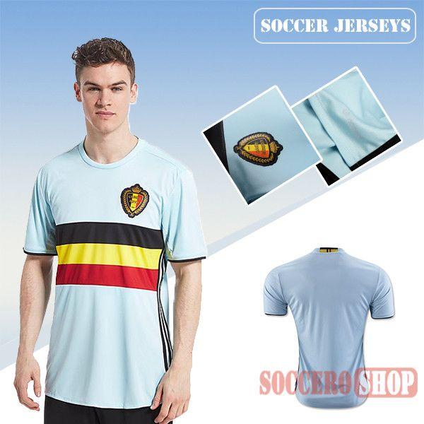 e56bd38af Latest Best Belgium Blue 2016 2017 Away Soccer Jersey
