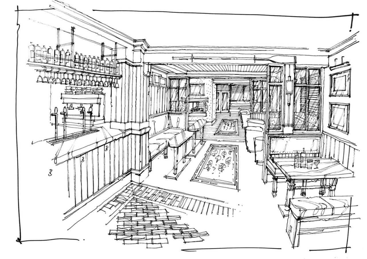 Interior Sketch Of A Traditional Pub Showing Pre And