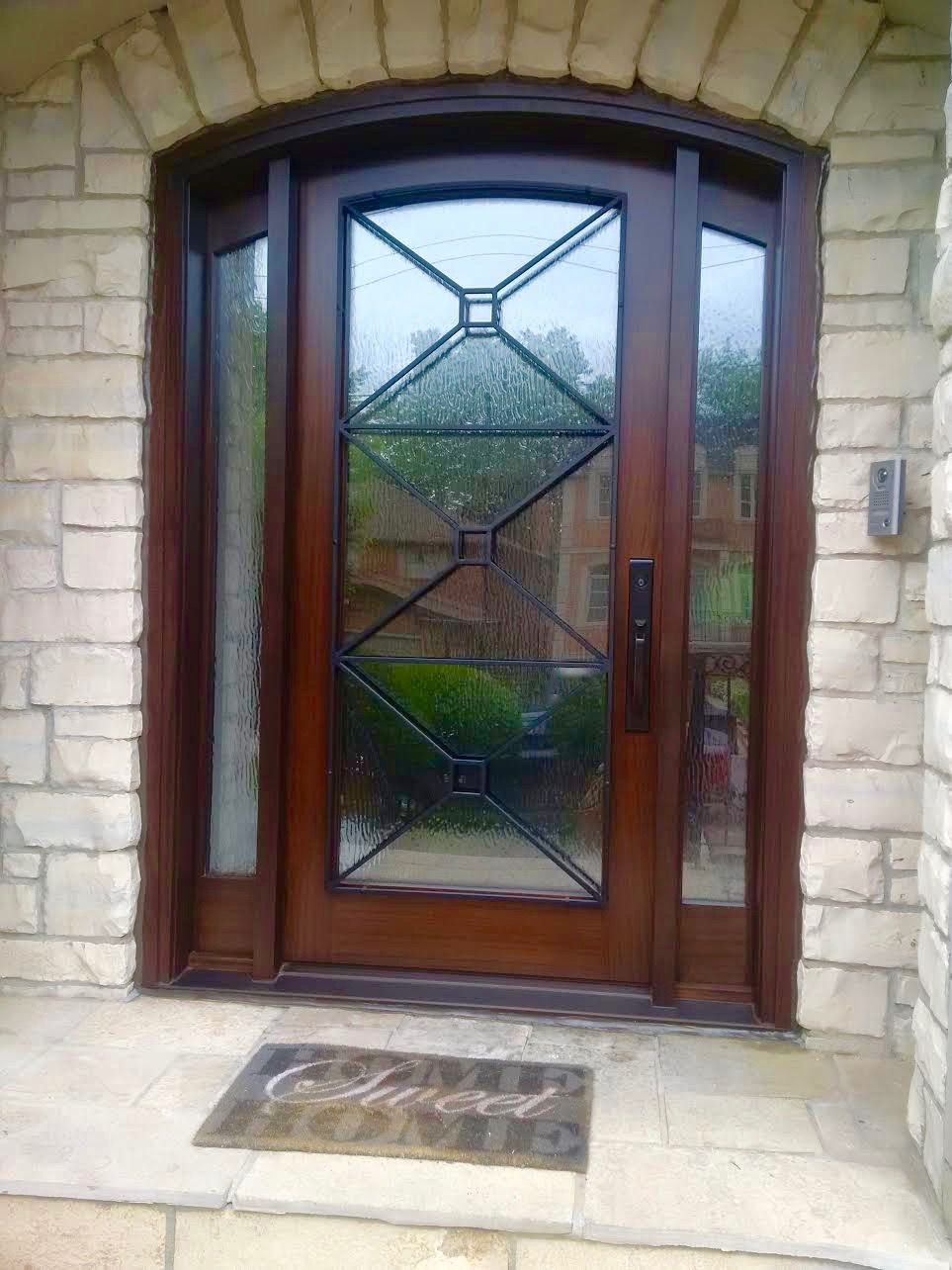 This Is A Magnificent Amberwood Custom Mahogany Cambertop Door With 2 Sidelights This Beautiful Entrance Fea Custom Wood Doors Door Glass Design Door Design