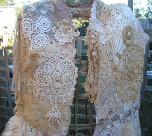 SALE Antique lace scarf tattered romantic by KillarneyFields