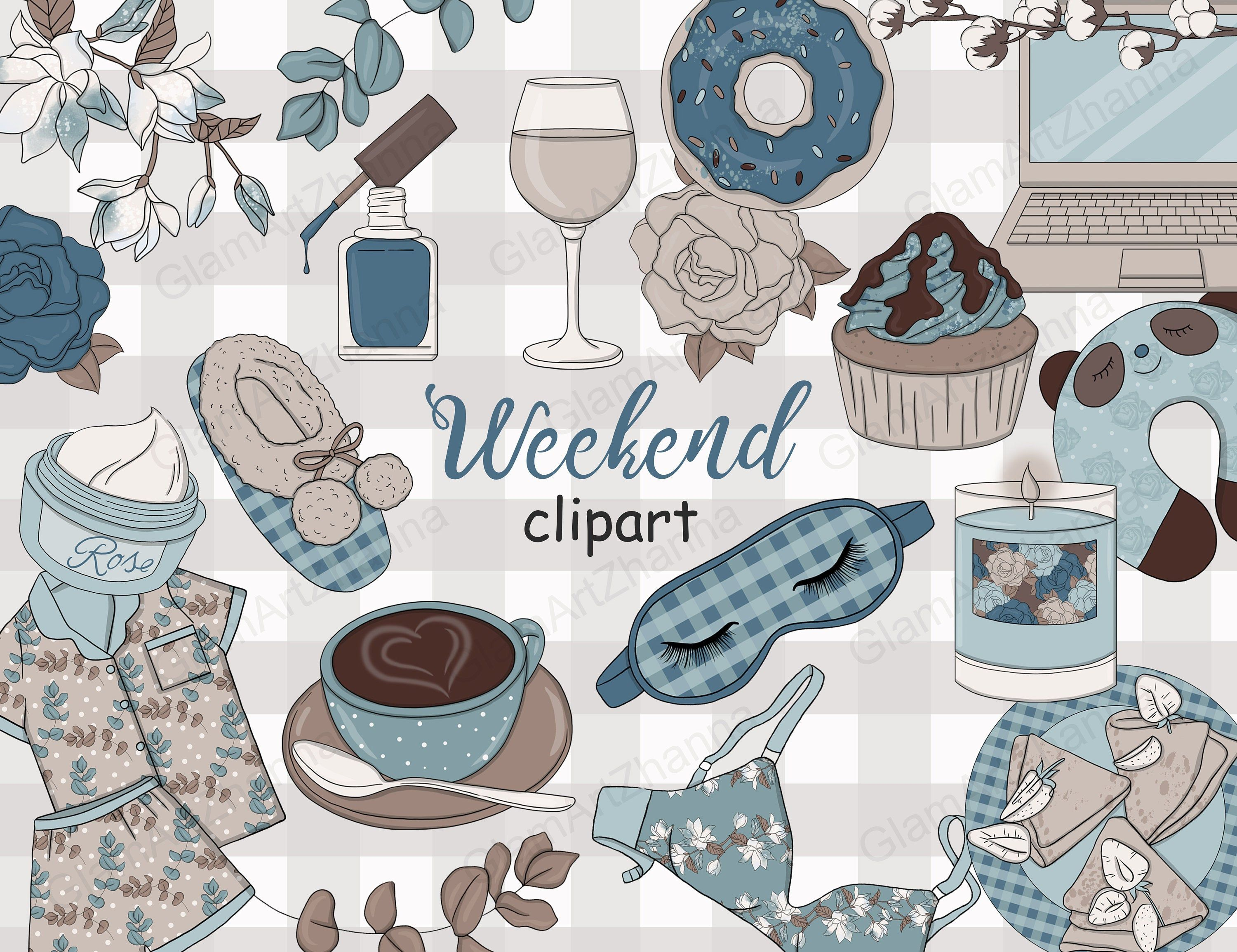 Weekend cozy holiday clipart, ladies girls lazy clip art ...