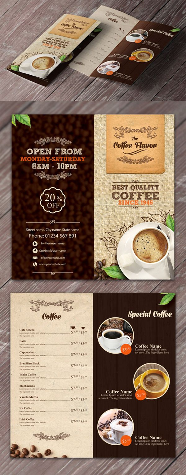 Refreshing Coffee Shop Brochure Designs  Brochures Coffee And