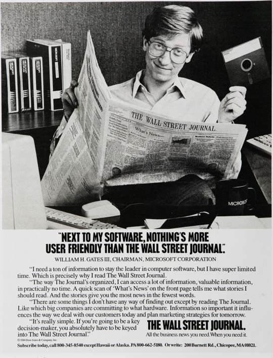 In This Vintage Computer Advert Bill Gates Of Microsoft Endorses The