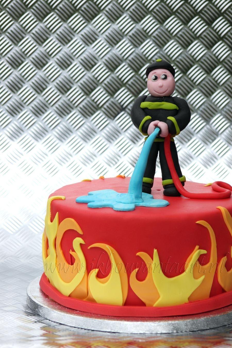 Amazing 21 Wonderful Image Of Fireman Birthday Cake Brandweerman Taart Funny Birthday Cards Online Overcheapnameinfo