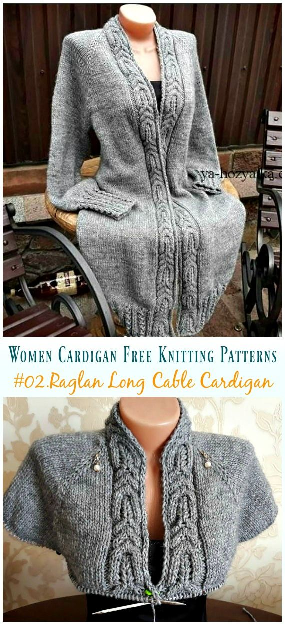 Raglan Knit Long Cable Cardigan Knitting Free Pattern #knittingprojects