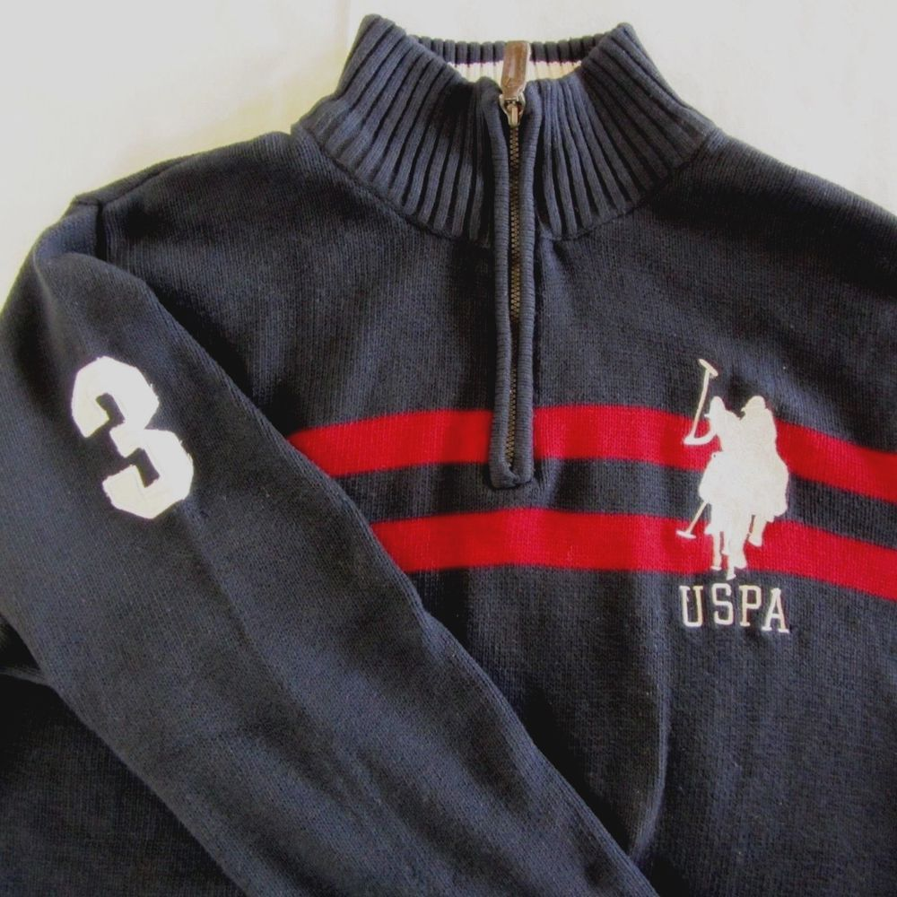 aa93a210b US Polo Ass. Mens Sweater Half Zip Navy Blue and Red Medium  USPoloAssn   12Zip
