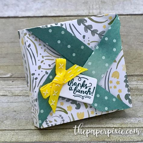 Today's project is a pinwheel box created with the Envelope Punch Board! I originally saw this project on Dawn Griffith's blog, who got the idea from Debi Pippin! This is such a fun and easy box to make and it really highlights our beautiful double-sided Designer Series Paper! This is a great project to create…