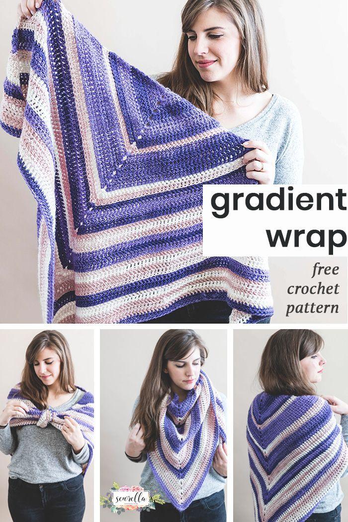 Crochet Gradient Wrap   CrochetHolic - HilariaFina   Pinterest
