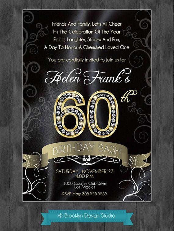 60th Birthday Party Elegant Invitation with Diamond Numbers DIY - sample invitation wording for 60th birthday