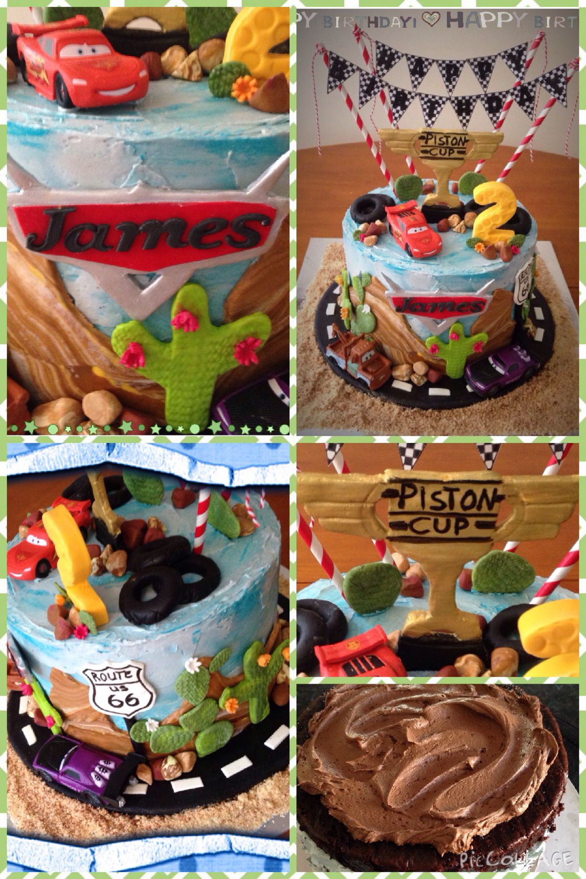 My Cars cake Chocolate cake with double chocolate fudge filling and