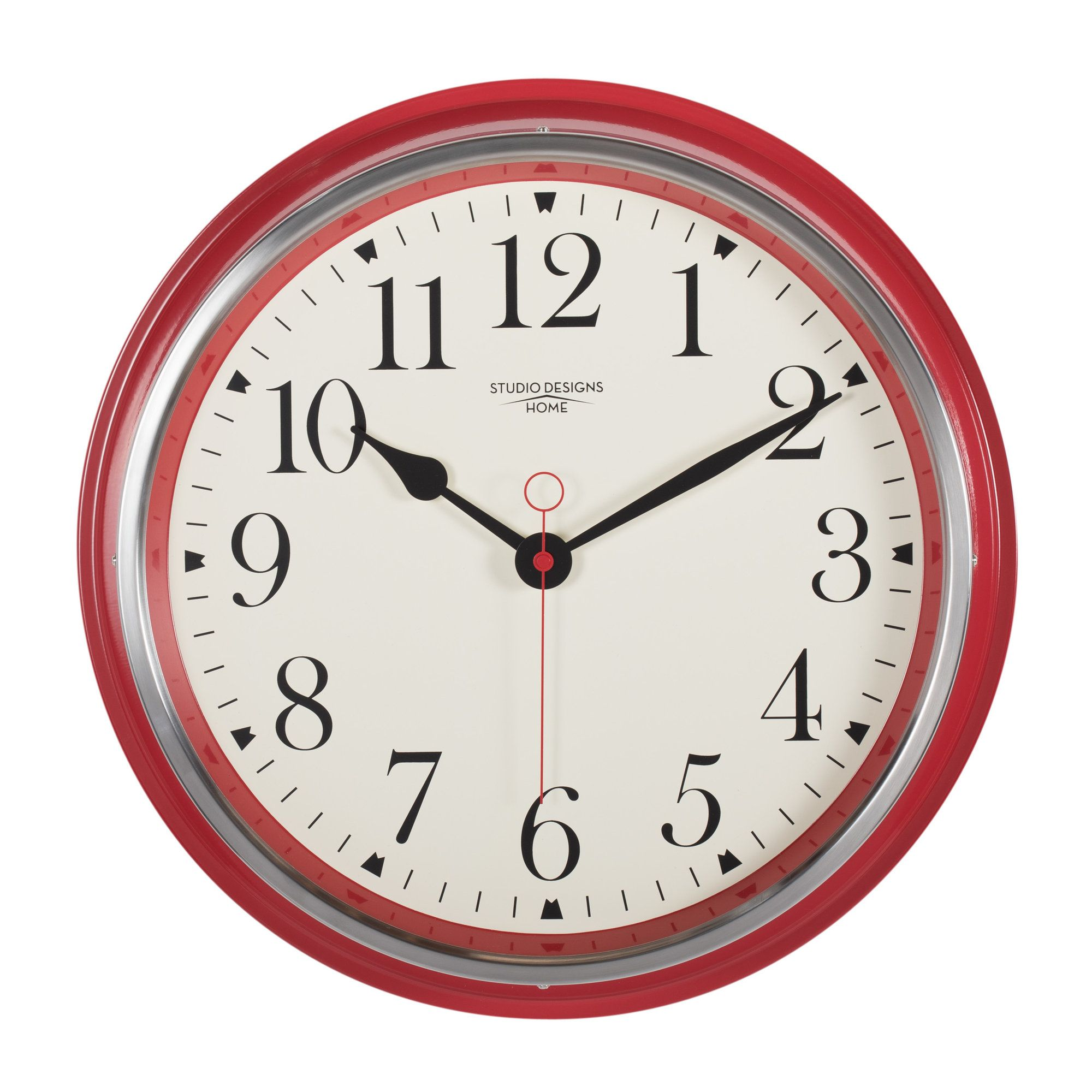 Analog Vintage Metal Wall Clock | Clock, Red wall clock ...