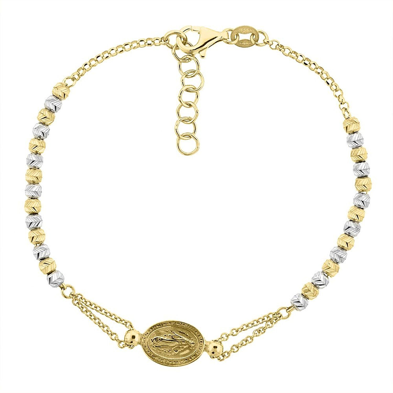 Sterling silver miraculous medal bracelet virgin mary diamond cut