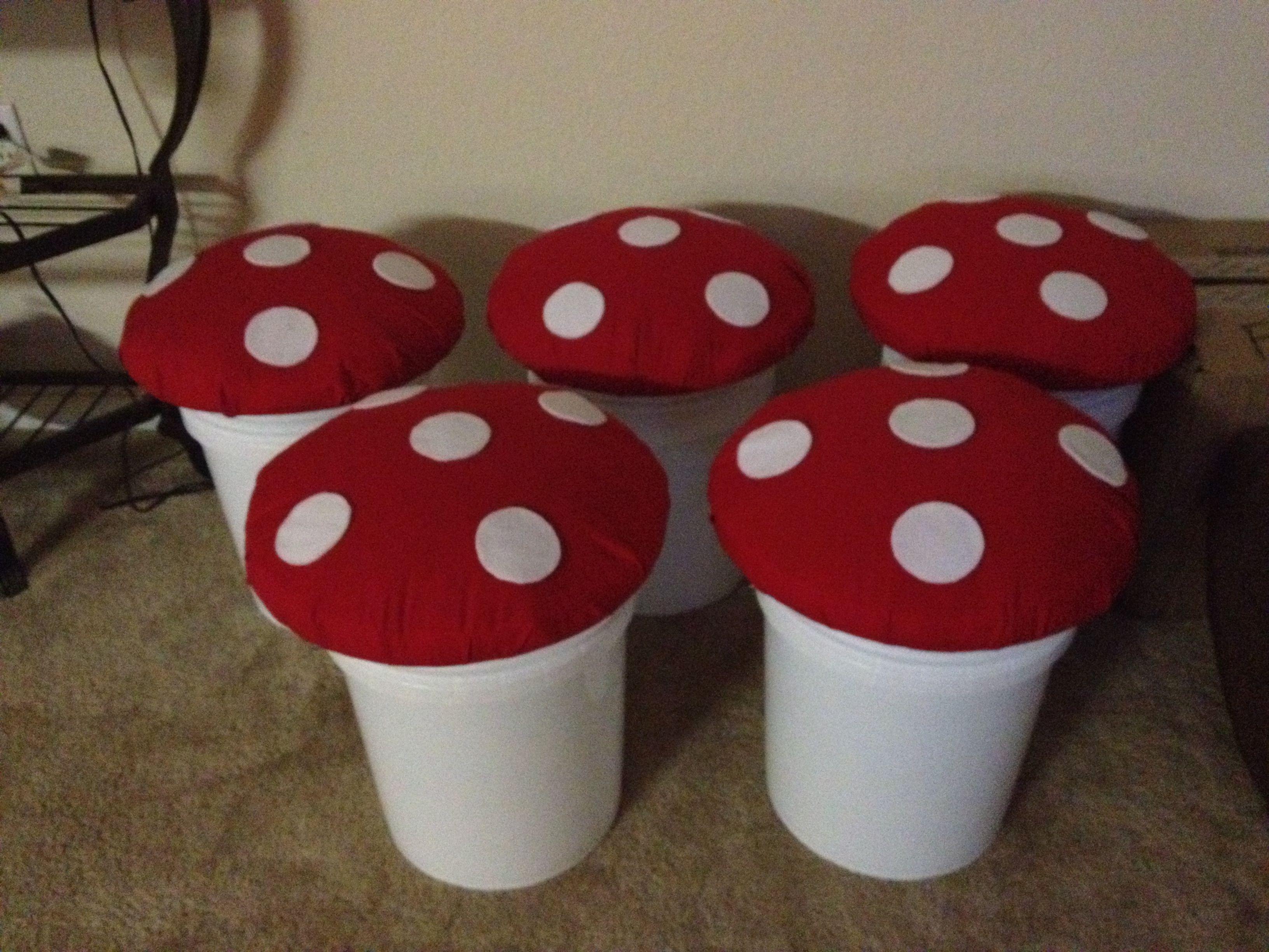 Diy mushroom chair - Mushroom Seats For A Smurf Themed Classroom