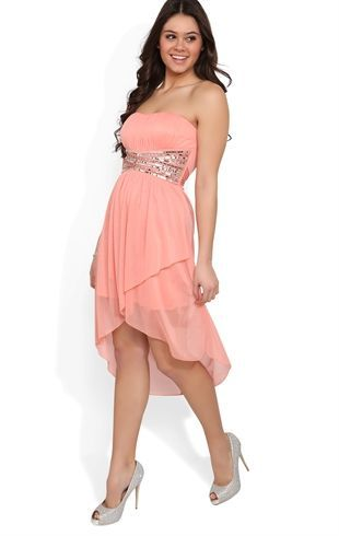 Deb Shops Strapless High Low #Prom #Dress with Beaded Peasant Bodice ...