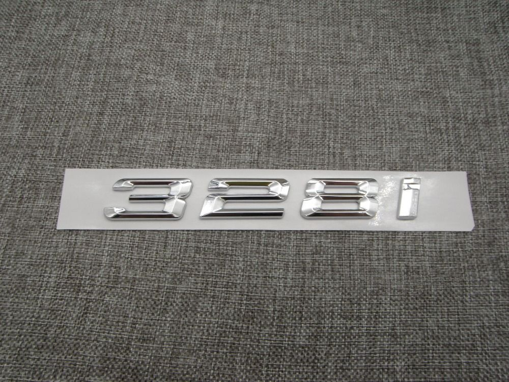 chrome shiny silver abs number letters word car trunk badge emblem letter decal sticker for bmw