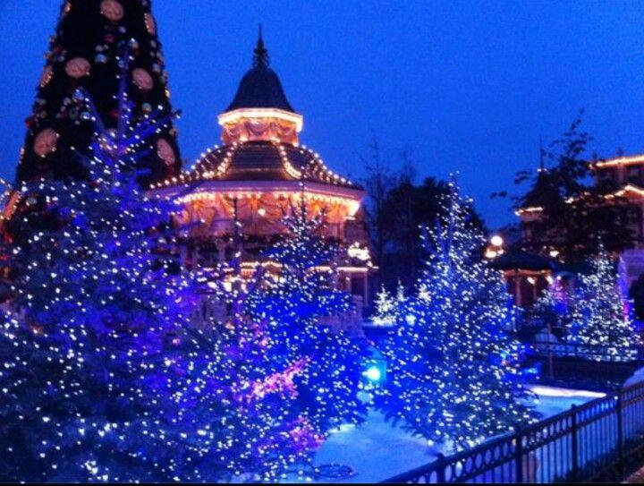 Main Street Gazebo With Blue Lights, Snow And The Christmas Tree At  Disneyland Paris #