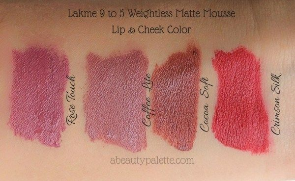 Lakme 9 to 5 Weightless Matte Mousse Lip & Cheek Color All