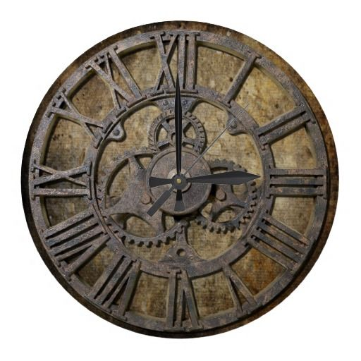 Old Clock Gears : Steampunk large clock mechanical engineering wall