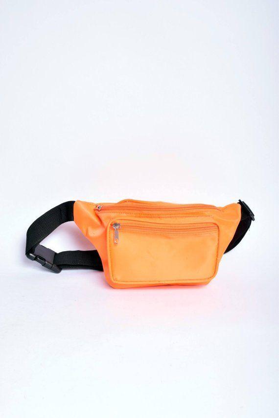 8de5a22a2108 Vintage Fluorescent Orange Nylon Fanny Pack / Vintage 90s Neon ...