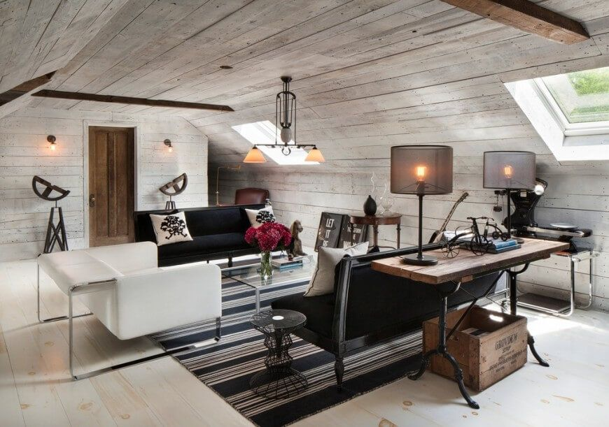 An Attic Used As A Family Room This White And Black Space Has Both Modern Elements And Rustic Accents F Bonus Room Design Attic Living Rooms Luxury Room Decor