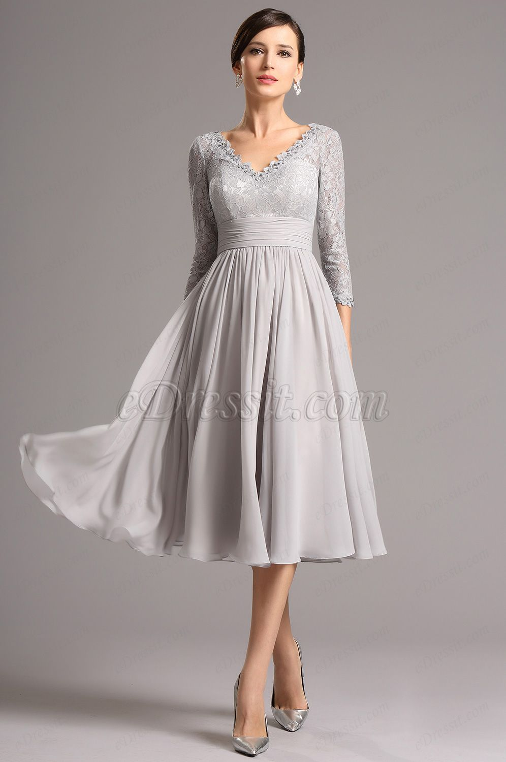 USD 139.99] Long Lace Sleeves Plunging Neck Grey Tea Length Dress ...