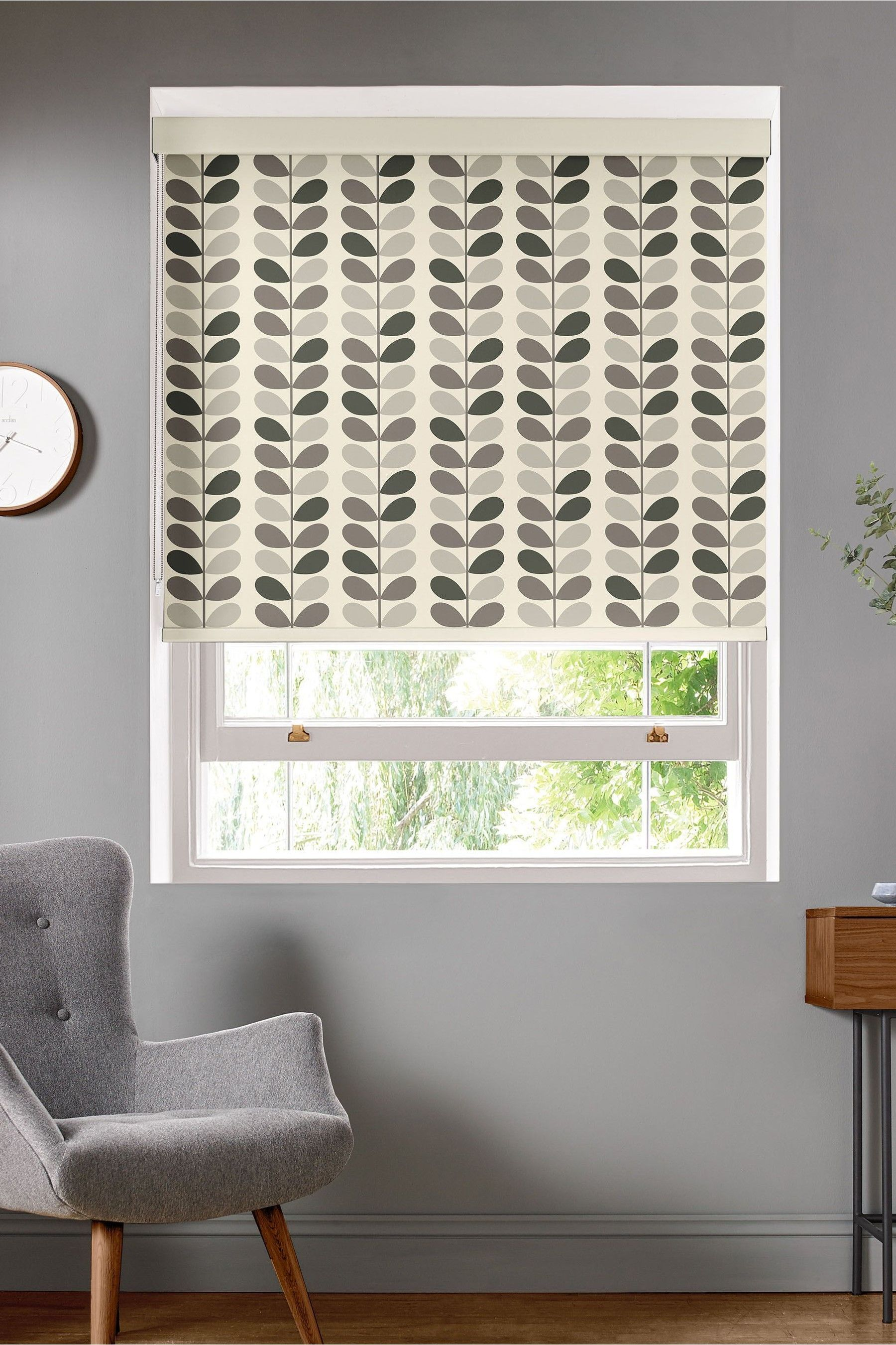 Multi Stem Warm Grey Made To Measure Roller Blind by Orla ...
