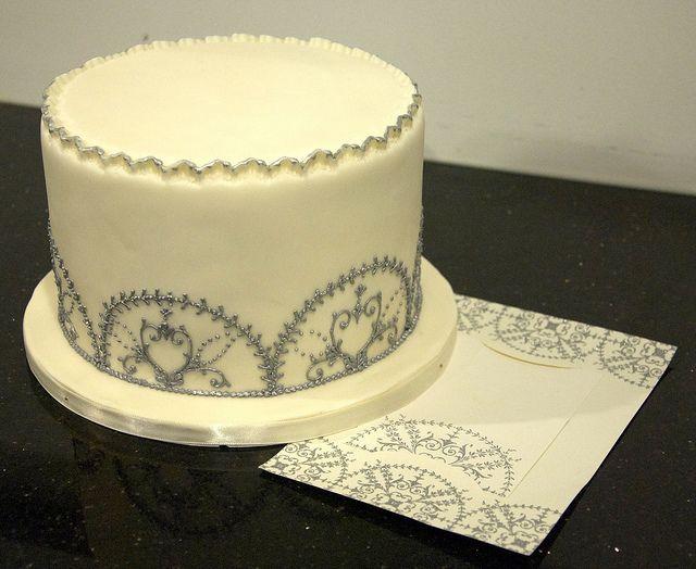 W9068 - ivory silver winter wedding cake   Wedding cake, Cake and ...