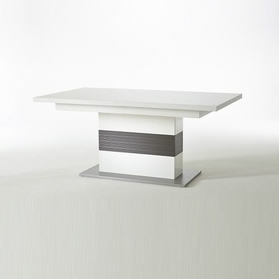Libya Pedestal Extendable Dining Table In White With Grey Base