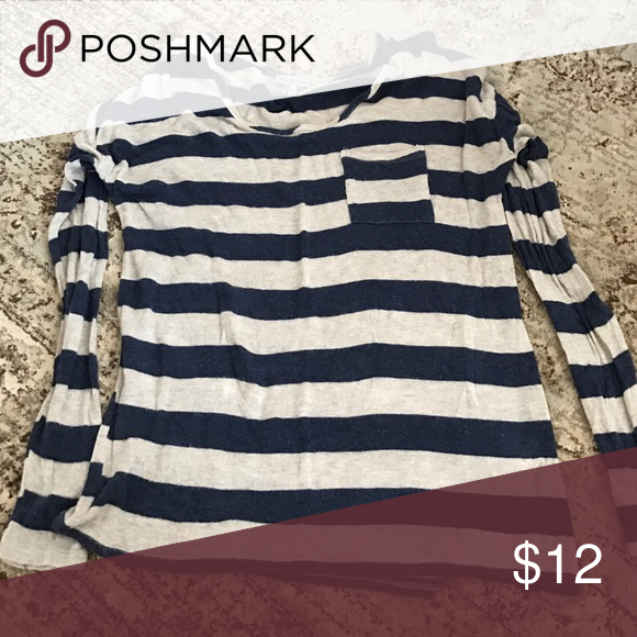 Charlotte Russe brown and navy striped top EUC Charlotte Russe Tops Tees - Long Sleeve
