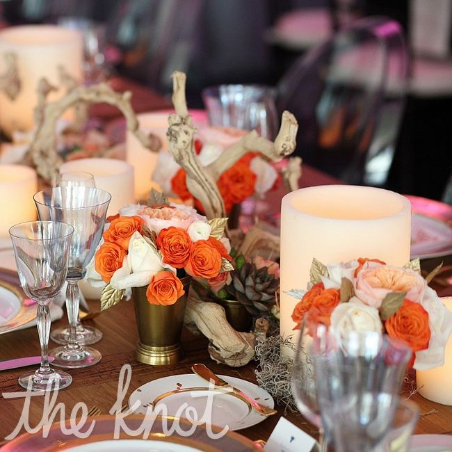 Wedding Centerpieces Ideas Without Flowers: Orange And Ivory Floral And Candle Centerpiece (without