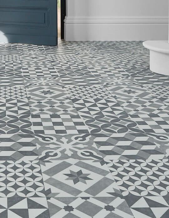Sol vinyle easytrend premium xl carreau ciment bleu gris - Carreaux ciment saint maclou ...