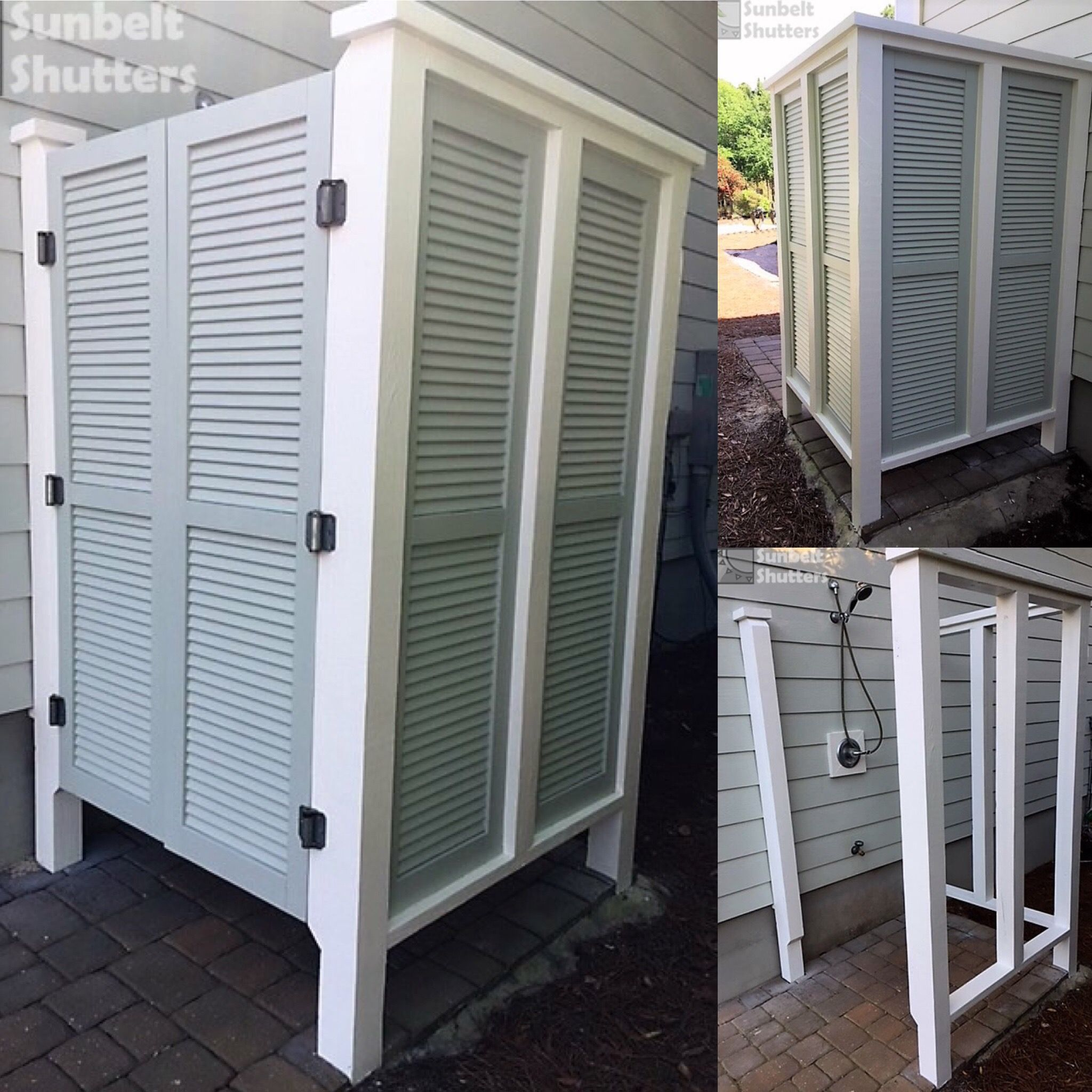 Build An Outdoor Shower For Beach House Or Cabin This Customer Used Sunbelt Shutters Composite Louvereds Wit Outdoor Shower Louvered Shutters Window In Shower