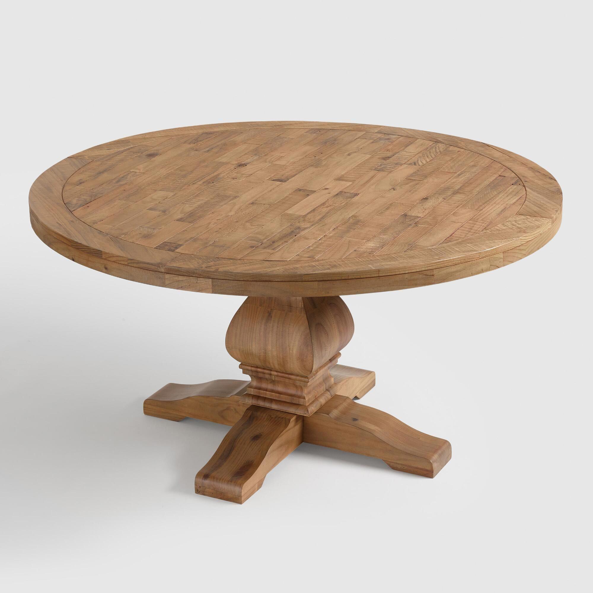 round gray pine wood lisette dining tableworld market