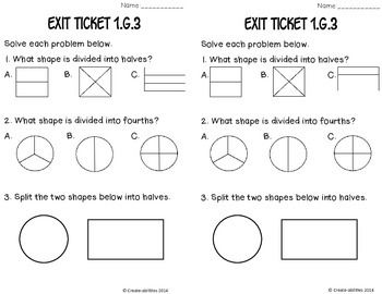Partitioning Shapes Math Tasks And Exit Tickets 1st Grade Math Worksheets Math Tasks 1st Grade Math