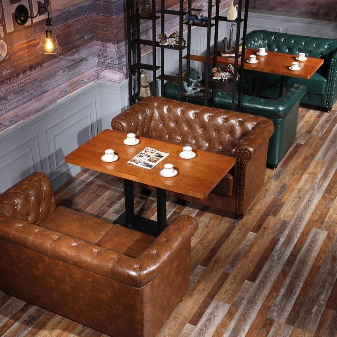 Beautiful Cafe Arrangement With Leather Chesterfield Sofa For