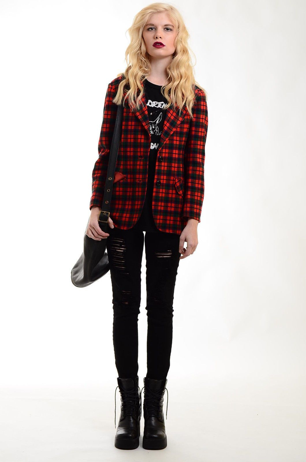 Punk Rock Style Tartan Blazer