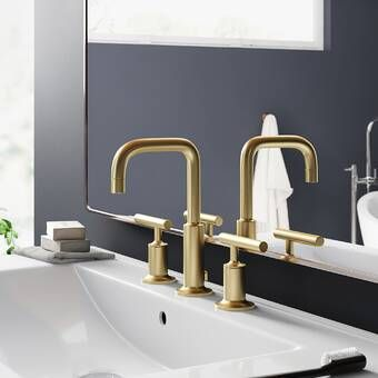 Photo of Purist Widespread Bathroom Faucet with Drain Assembly