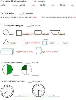 Common Core Ccgps Math Formative Summative Assessment First Grade