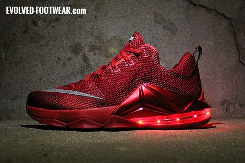 sports shoes 2db6c 98686 ... greece nike lebron 12 low with red lights evolved footwear custom light  up shoes d530e 9da19
