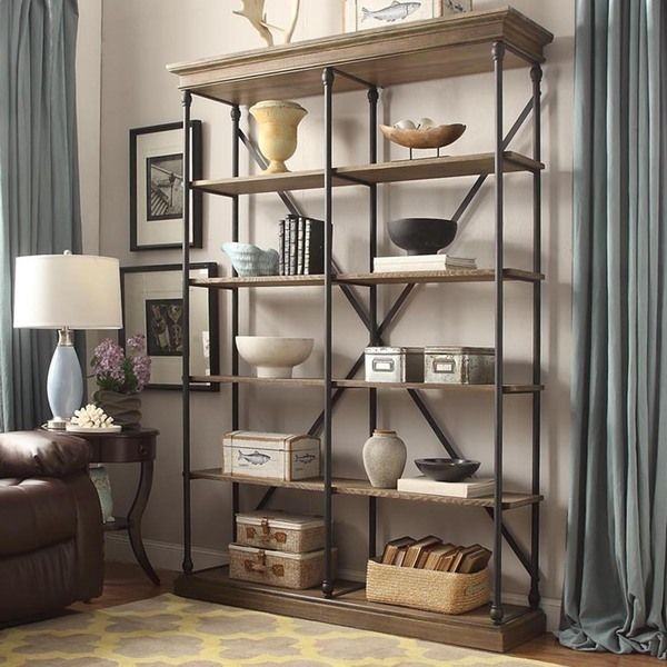 Inspire Q Barnstone Cornice Brown Oak Driftwood Double Shelving Bookcase Ping Great